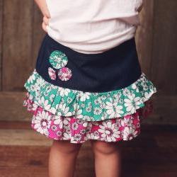 Sewing Pattern Girls Skirt, Pdf Pattern for 2 to 8 Yrs, Ruffled Denim Skirt