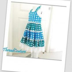 Girl&#039;s Dress Sewing Pattern, Tiered Polka Dot Dress (pdf pattern)